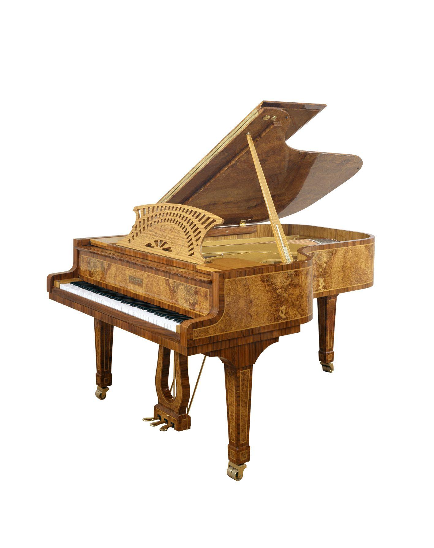 Vue 3 4 du piano Pleyel unique Loupe d amboine Piano