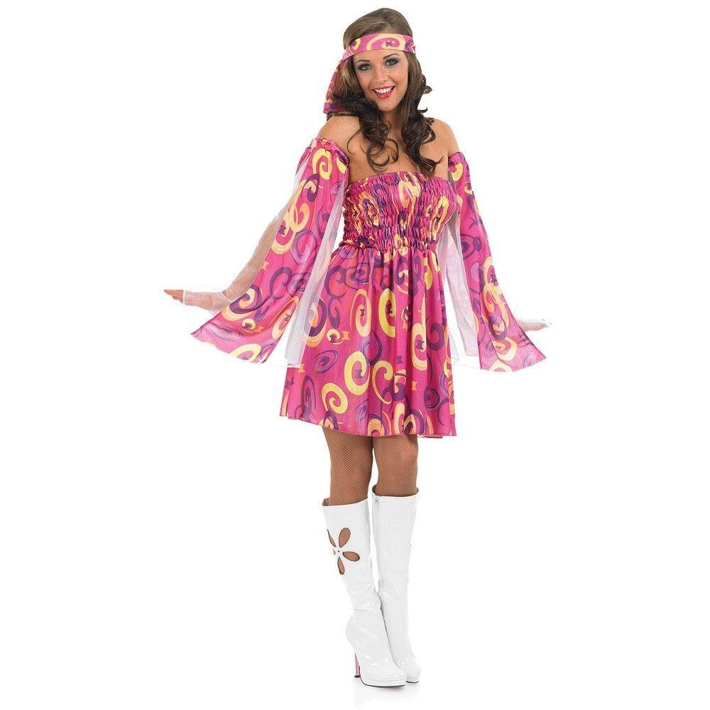 Womens Plus Size 1960s Pink Swirl Hippie Costume | 70's costume ...