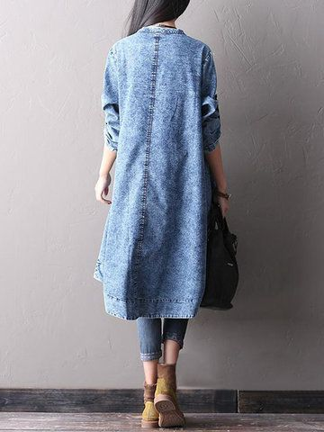 70d8900885 O-Newe Plus Size Women Loose Long Sleeve Denim Dress