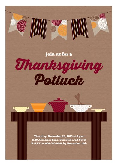 This Thanksgiving potluck invitation features a fall hued banner ...