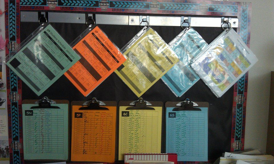 Color-coded class schedules and student spreadsheets from Dr. TNo's classroom