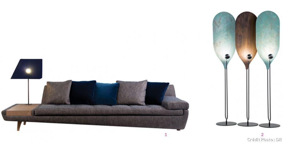 Canapé asymétrique illusion avec tablette en bois incrustée lili castilla pour roche bobois