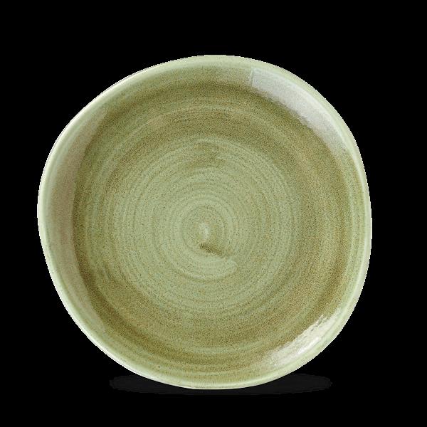 "Churchill Stonecast Patina Burnished Green Organic Round Plate 8.25"""