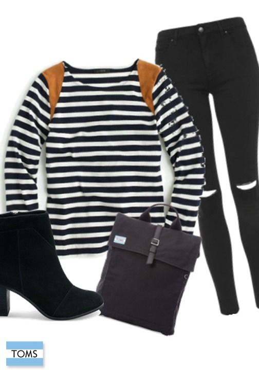 Show off your TOMS Lunata Booties with a fitted pair of black denim and a striped shirt.