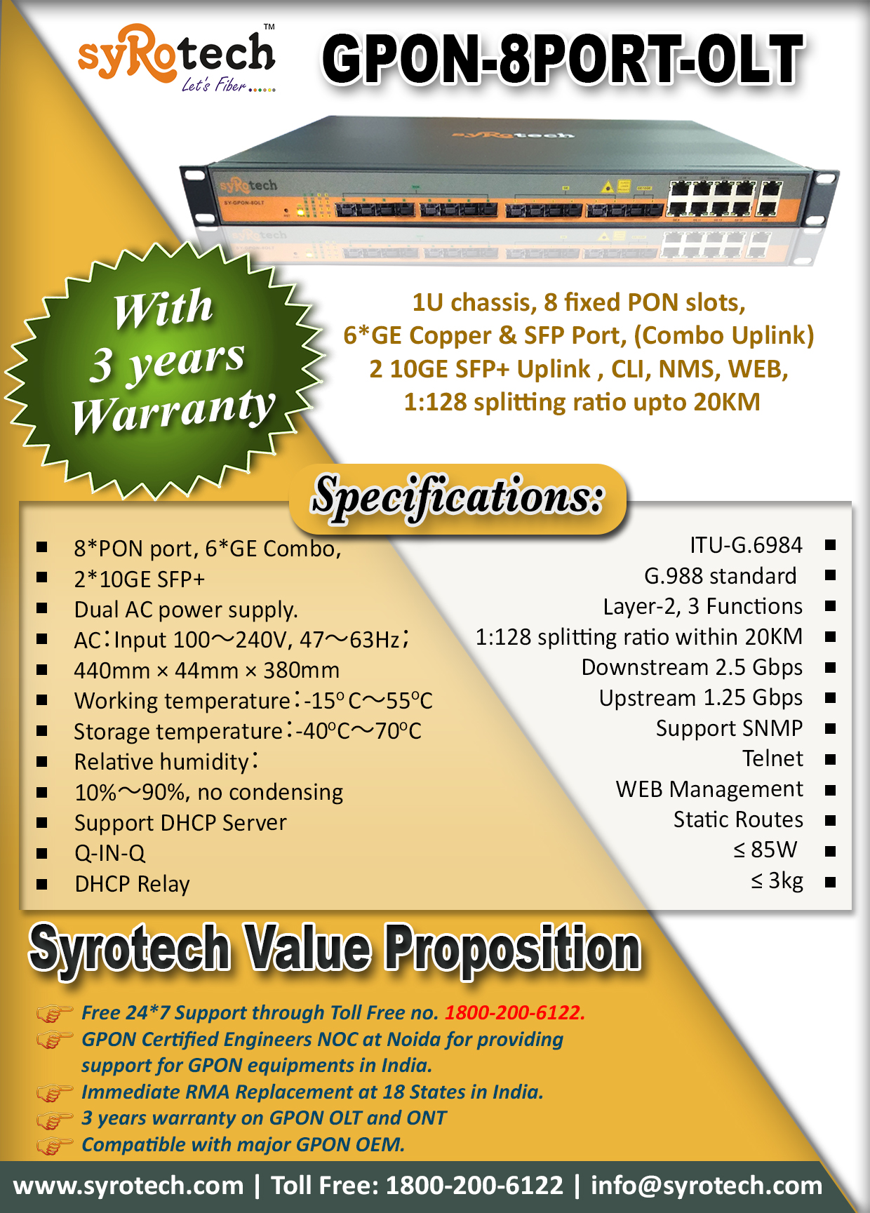 Gpon-8Port-Olt         Syrotech Value Proposition | SYROTECH