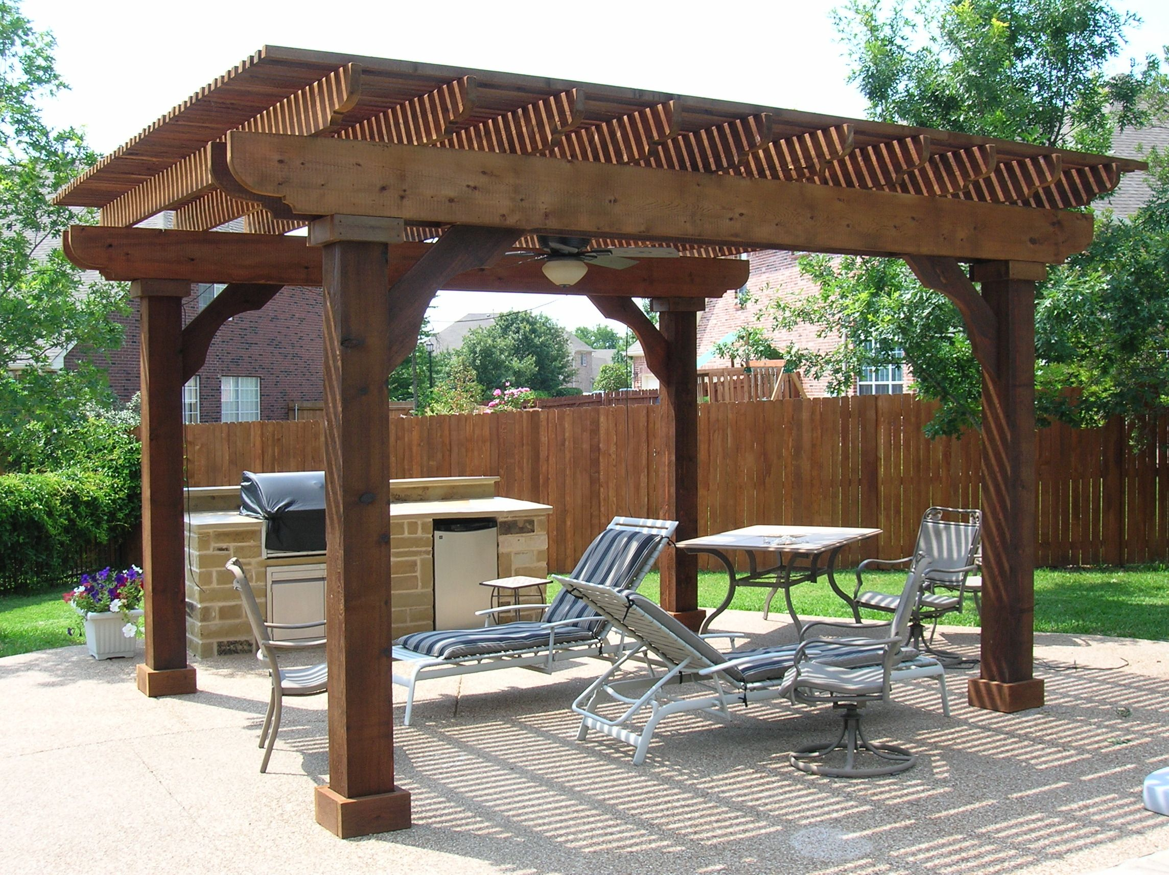 Free Standing Patio Roof Designs | Free Standing Cedar Arbor With Ceiling  Fan   Keller,