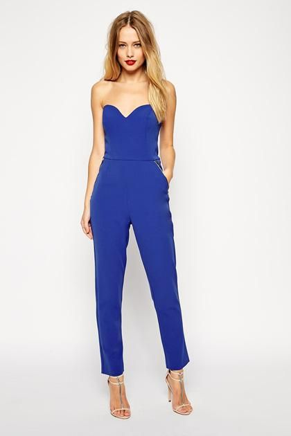 0363e87832f0 Strapless electric blue prom jumpsuit