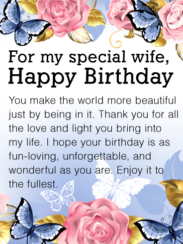 You Make The World Beautiful Happy Birthday Card For Wife If Your