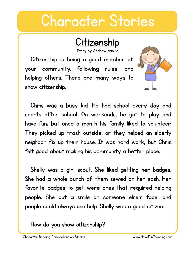 Citizenship Character Reading Comprehension Worksheet