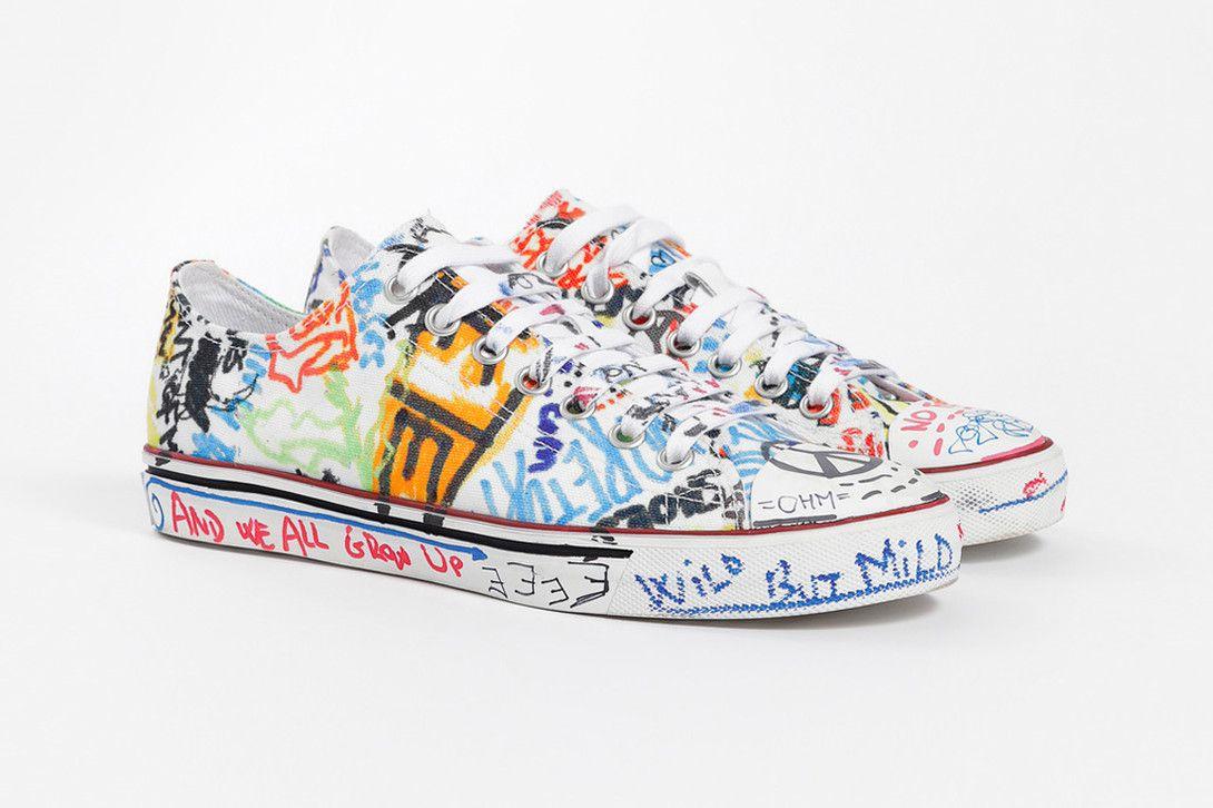 d74a004b407 Vetements Fall Winter 2018 Graffiti Low-Top Sneakers black white demna  gvasalia release info sneakers footwear