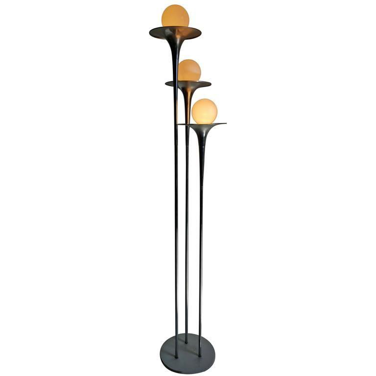 italian midcentury modern reggiani chrome trumpet floor lamp