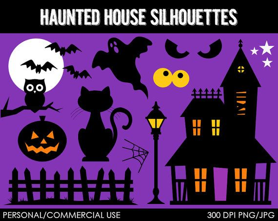 Haunted House Silhouettes Clipart - Digital Clip Art Graphics for ...