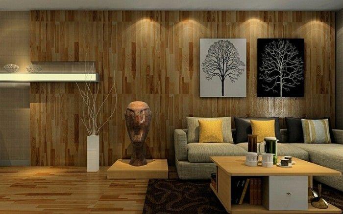 wandgestaltung ideen wohnzimmer holz moderne beleuchtung Pinterest