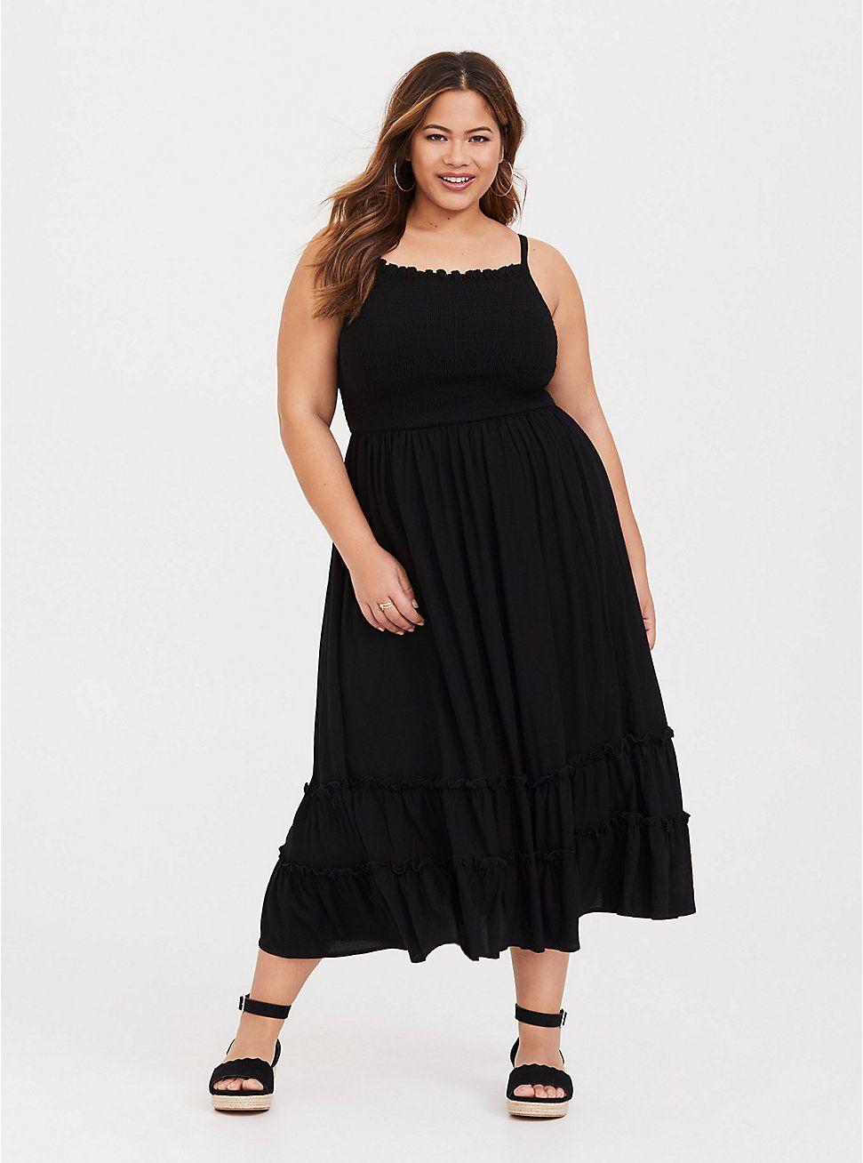 Black challis smocked midi dress in 2020 plus size