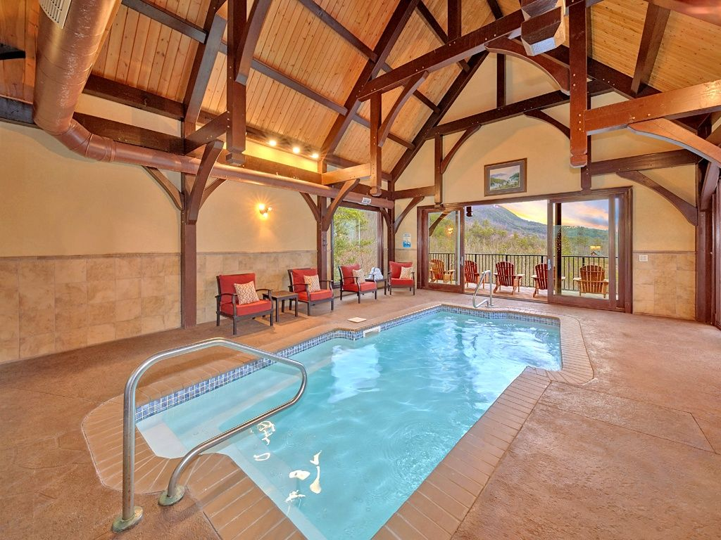 cabins indoor private pool with rental sevierville gatlinburg secret sleeps rentals cabin outdoor splash a