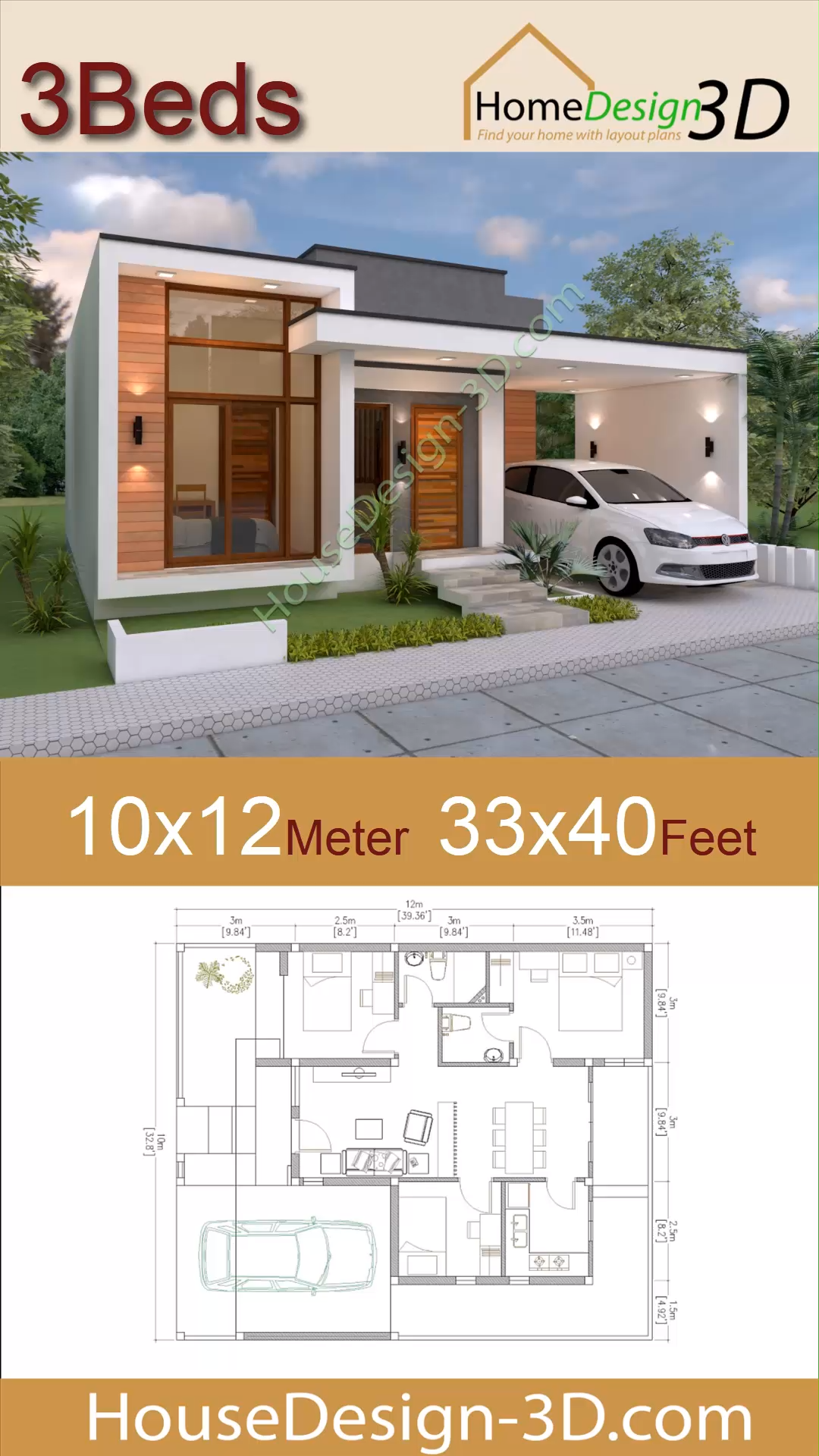 Photo of House design 10×12 meter 33×40 Feet 3 Beds