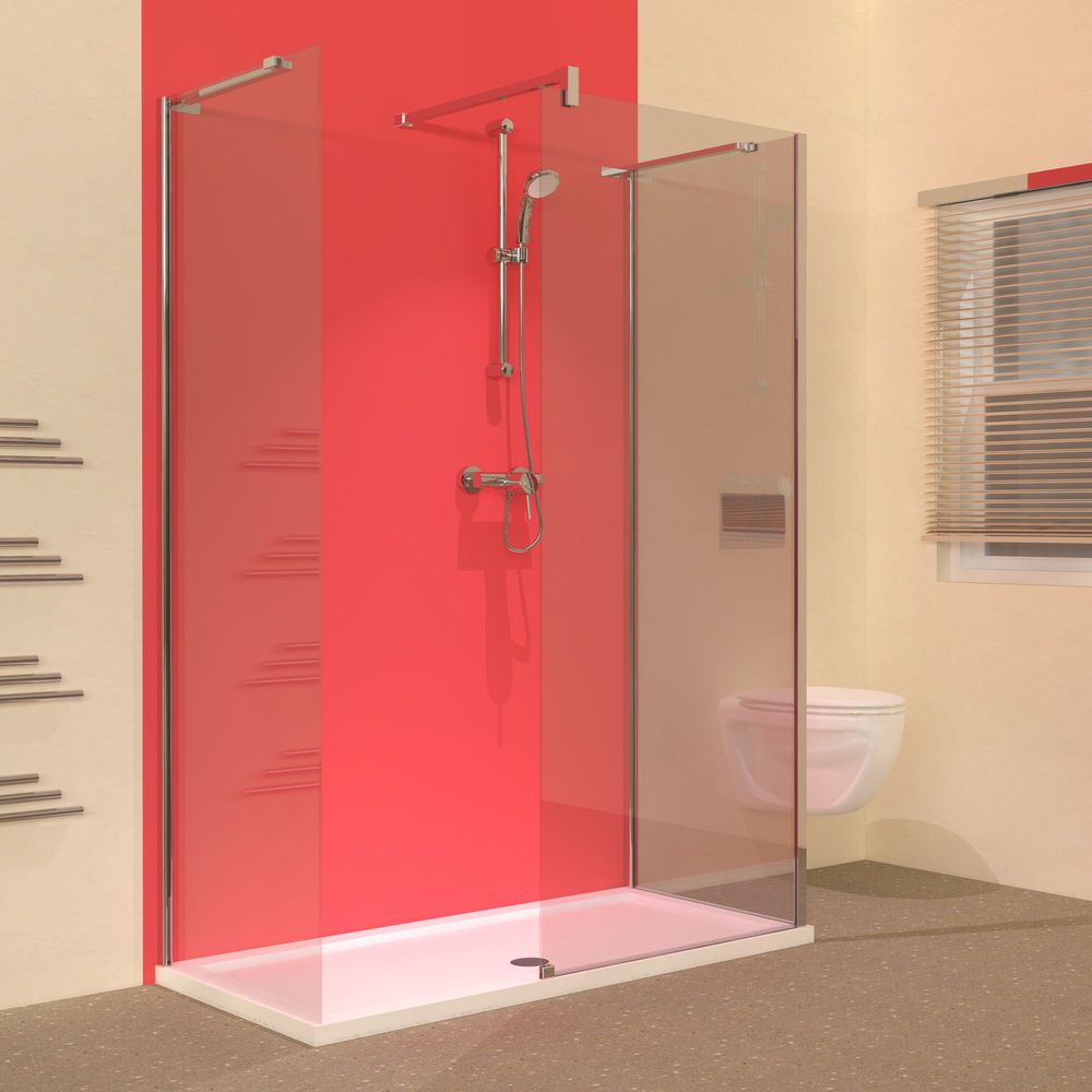 Line 1400 x 700 Walk In 3 Sided Frameless Shower Enclosure with Tray ...