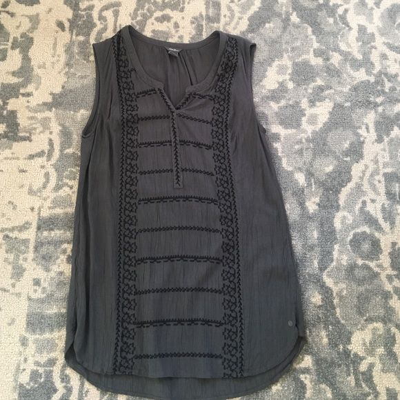 Grey top Dressy tank top. Worn once.  Gray with black stitching detail.  Cute on its own or under a jacket Eddie Bauer Tops Tank Tops