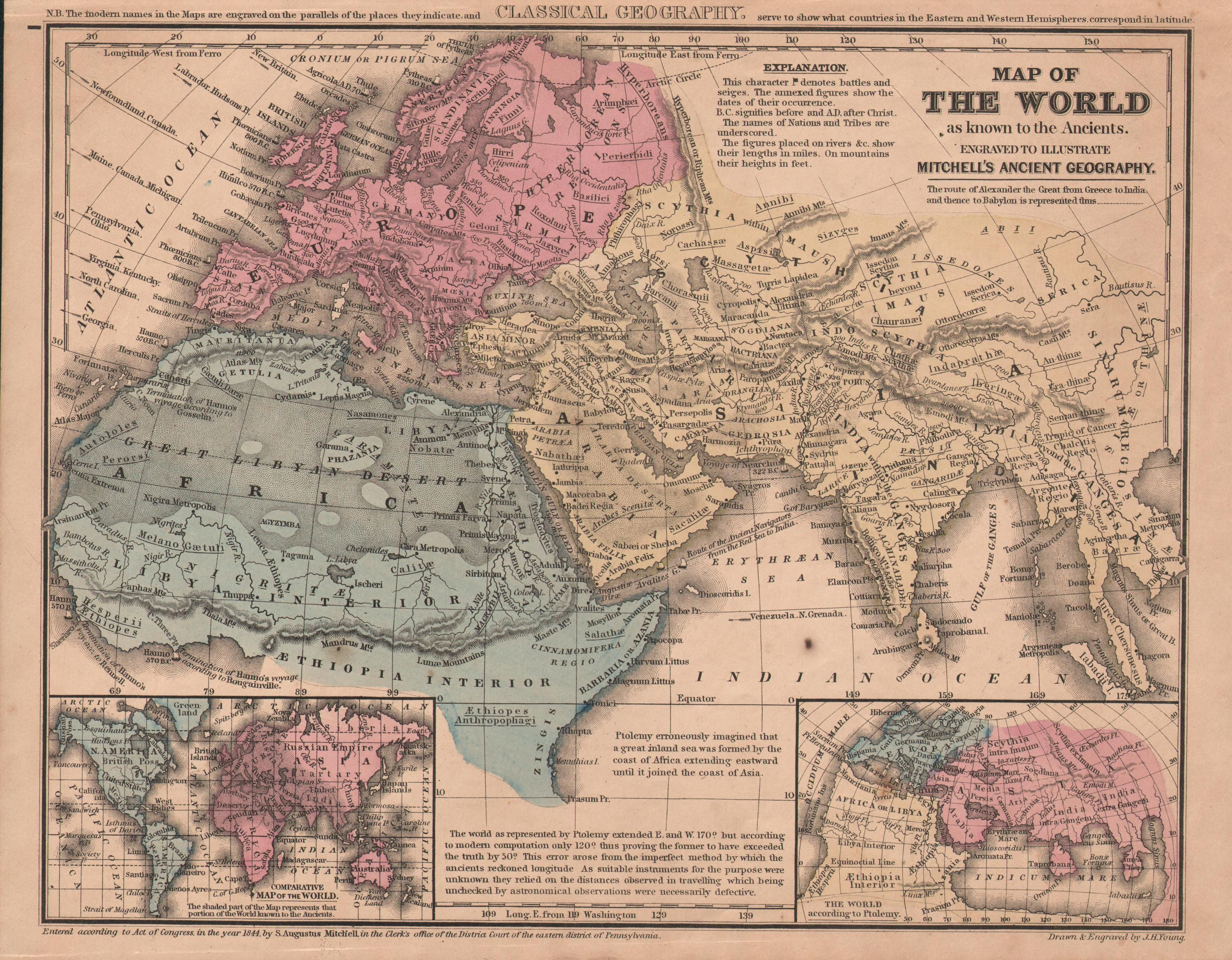 1844 #Map of the world, as known in ancient times