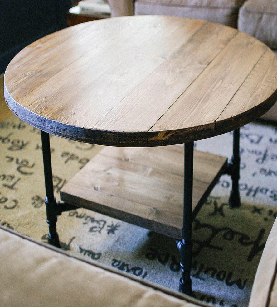 Bithlo Reclaimed Wood Top Round Industrial Coffee Table: Reclaimed Wood Round Coffee Table With Shelf
