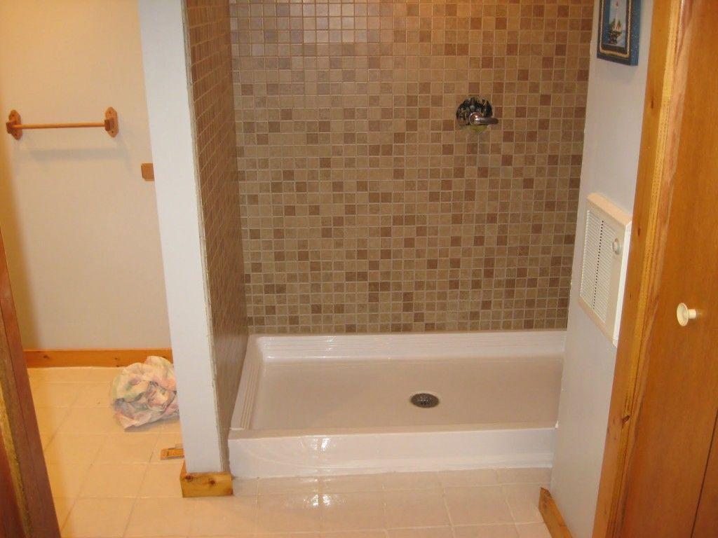 Fiberglass Shower Pan Home Depot Combine Elegant Mosaic Tile