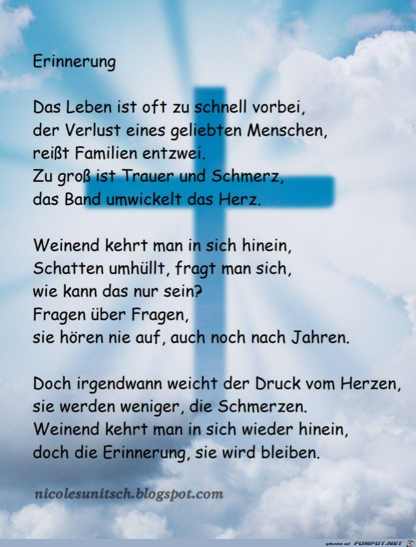 Erinnerung - Trauer - Gedicht von Nicole Sunitsch