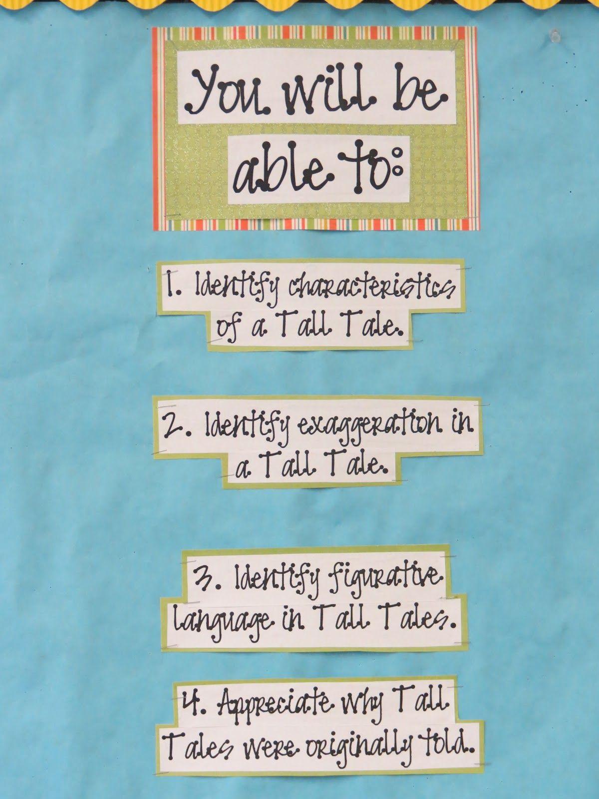 Tall Tales Unit Bulletin Board