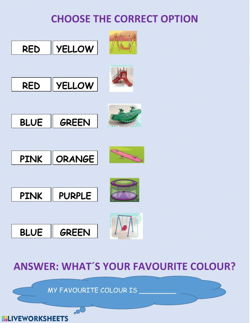 Playing With Colours Interactive Worksheet Worksheets English As A Second Language Esl 1st Grade Worksheets [ 1291 x 1000 Pixel ]