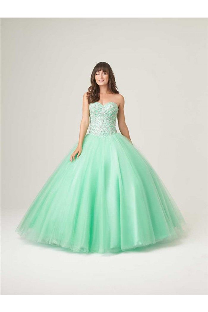 Ball Gown Strapless Drop Waist Mint Green Tulle Beaded Corset Prom ...