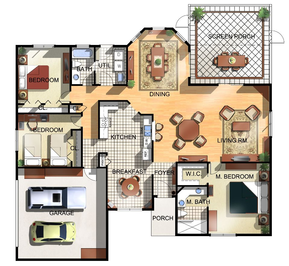 Colored House Floor Plans architectures: floor plans house home wooden tiles ceramic decor