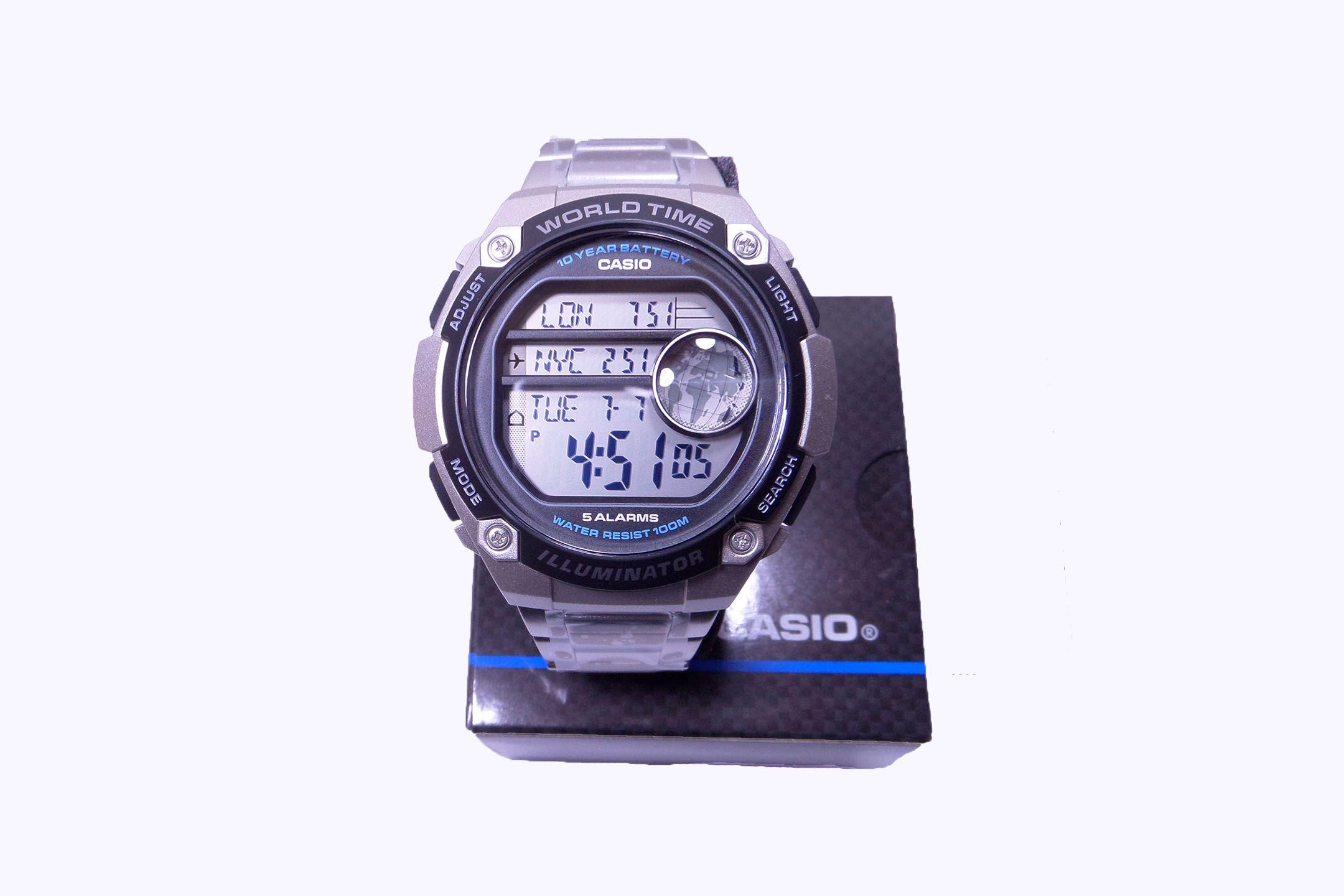 4ffbd35763ff Casio mod AE-3000W Hora mundial mapa alarma cronómetro correa metalica  Illuminator. La función