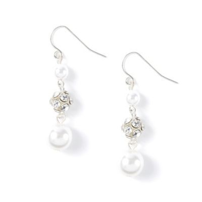 Pearl and Crystal Ball Drop Earrings