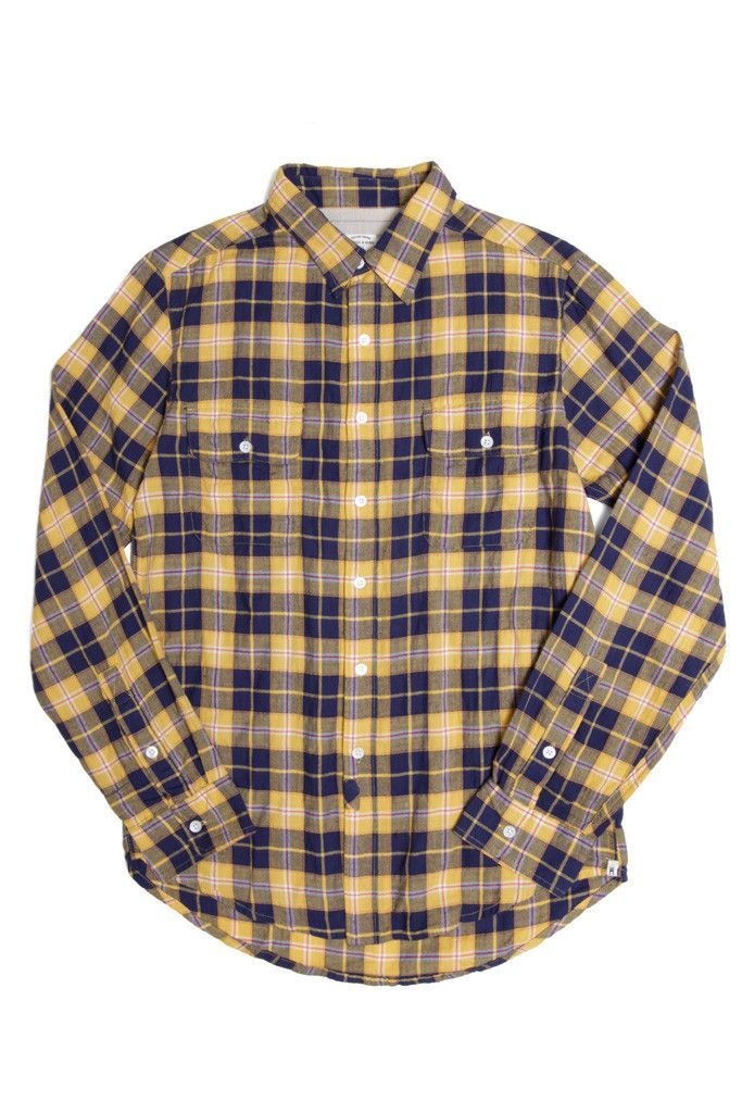 This is going to look good on you this summer - Davie Yellow Indigo Plaid Shirt from @bridgeandburn of Portland Oregon.