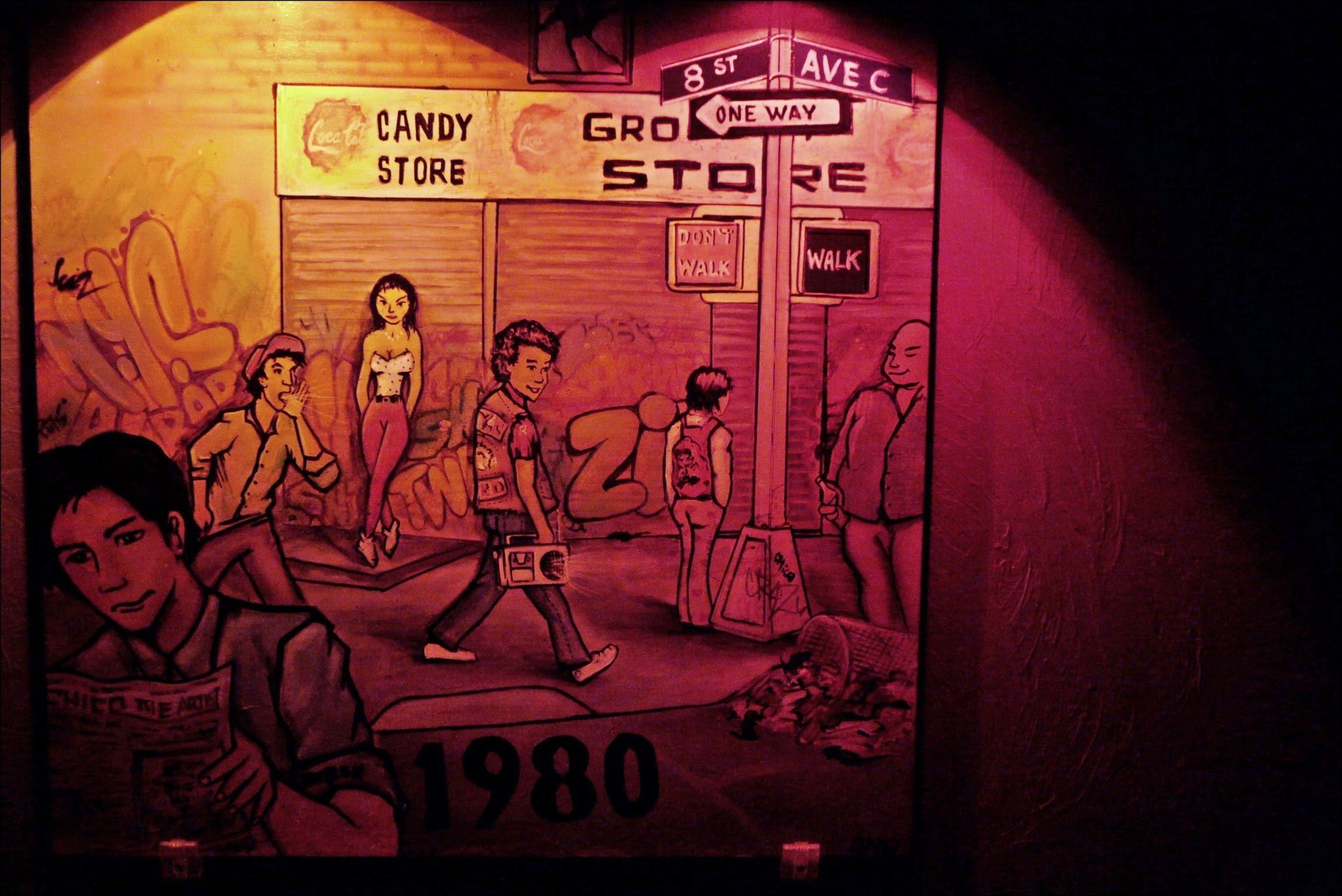 Speakeasy artwork captures LES in the 80s. | Neon signs