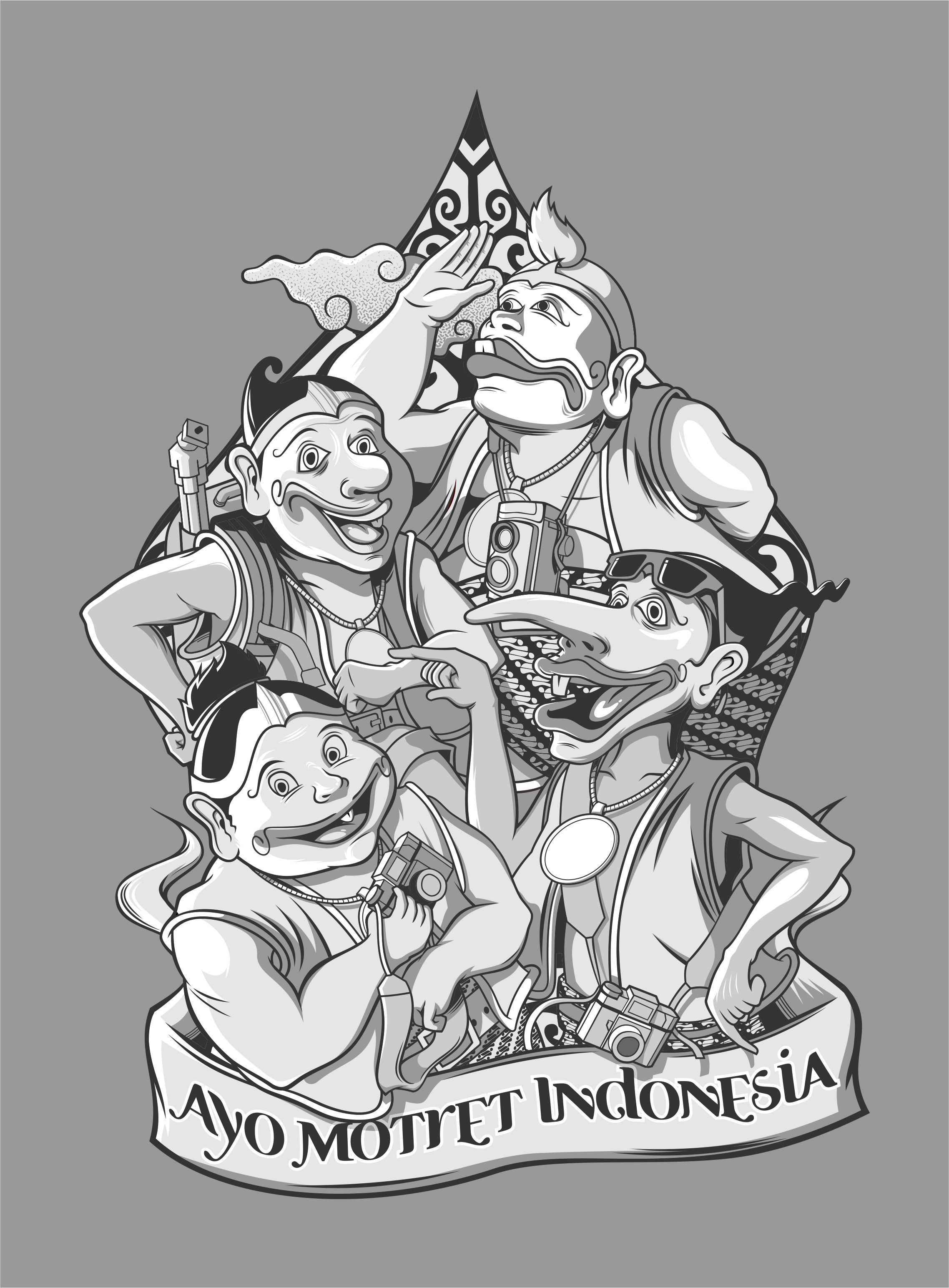 """Punokawan"" Central Java, Indonesian Carakter Seni"