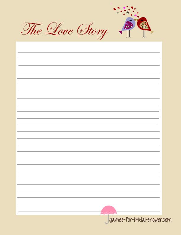love story bridal shower game