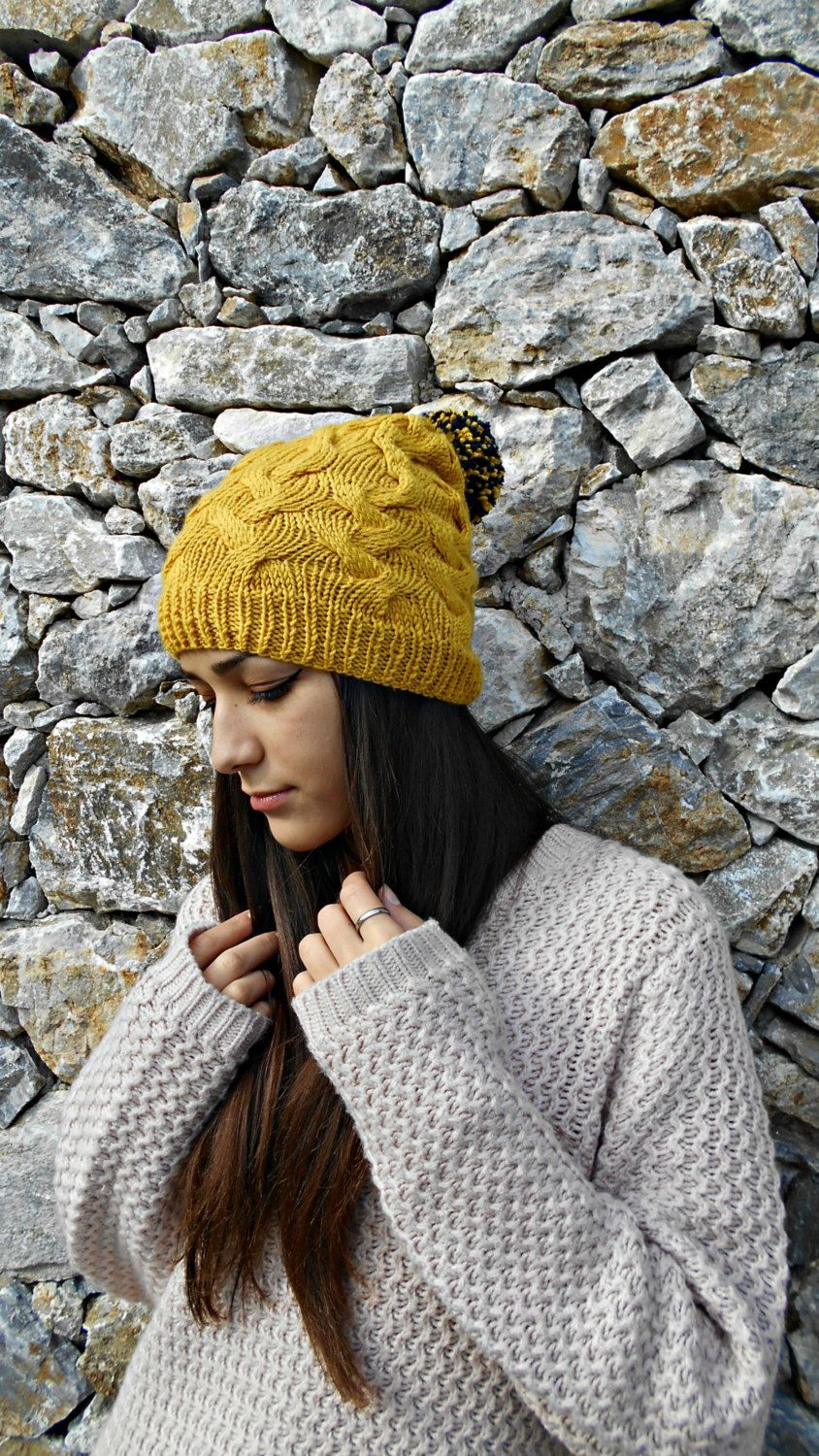 Slouchy hat hand knit beanie with pompom gift idea for slouchy hat hand knit beanie with pompom gift idea for girlfriend sister birthday negle Choice Image