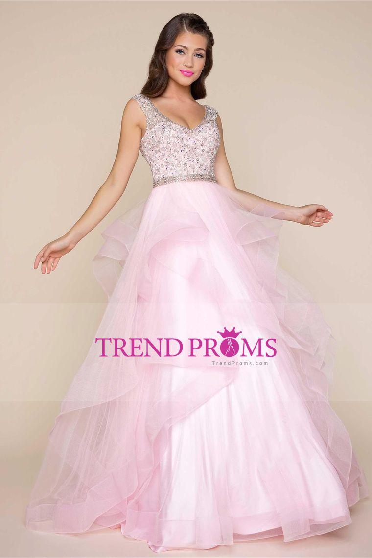 2017 New Arrival V Neck A Line Prom Dresses Tulle With Beading ...