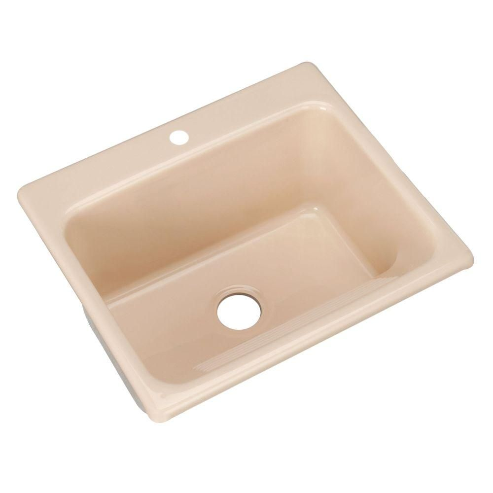 Kensington Drop-In Acrylic 25 in. 1-Hole Single Bowl Utility Sink in Candle Lyte