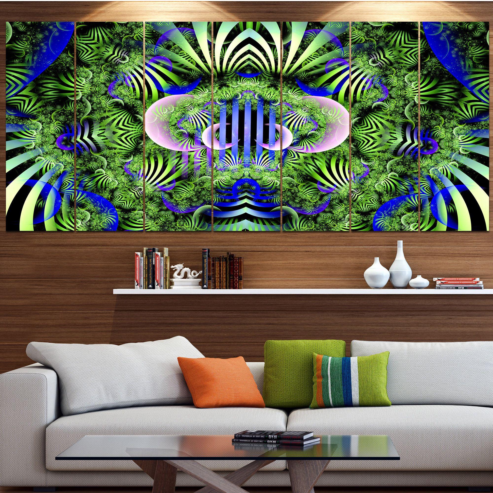 Designart ugreen magical fairy patternu floral wall art on canvas