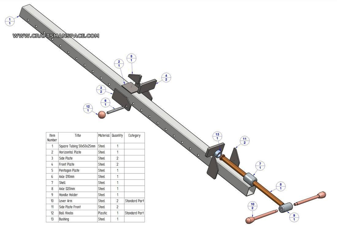 Metal bar clamp plan - Parts list | Attrezzi falegnameria ...