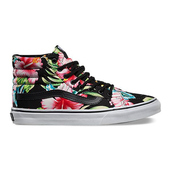 917014f5a3 Hawaiian Floral SK8-Hi Slim ( 65) ❤ liked on Polyvore featuring shoes