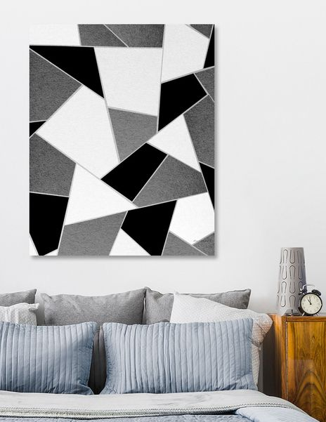 Gray Black White Geometric Glam 1 Geo Decor Art Canvas Print By Anita S Bella S Art Numbered Edition From 59 Curioos Black Canvas Art Painters Tape Art Black And White Painting