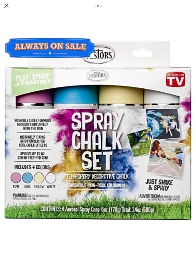 As Seen On Tv Testors Spray Chalk Kit Kids Paint Art Childrens Spray Chalk Chalk Spray Paint Color Kit
