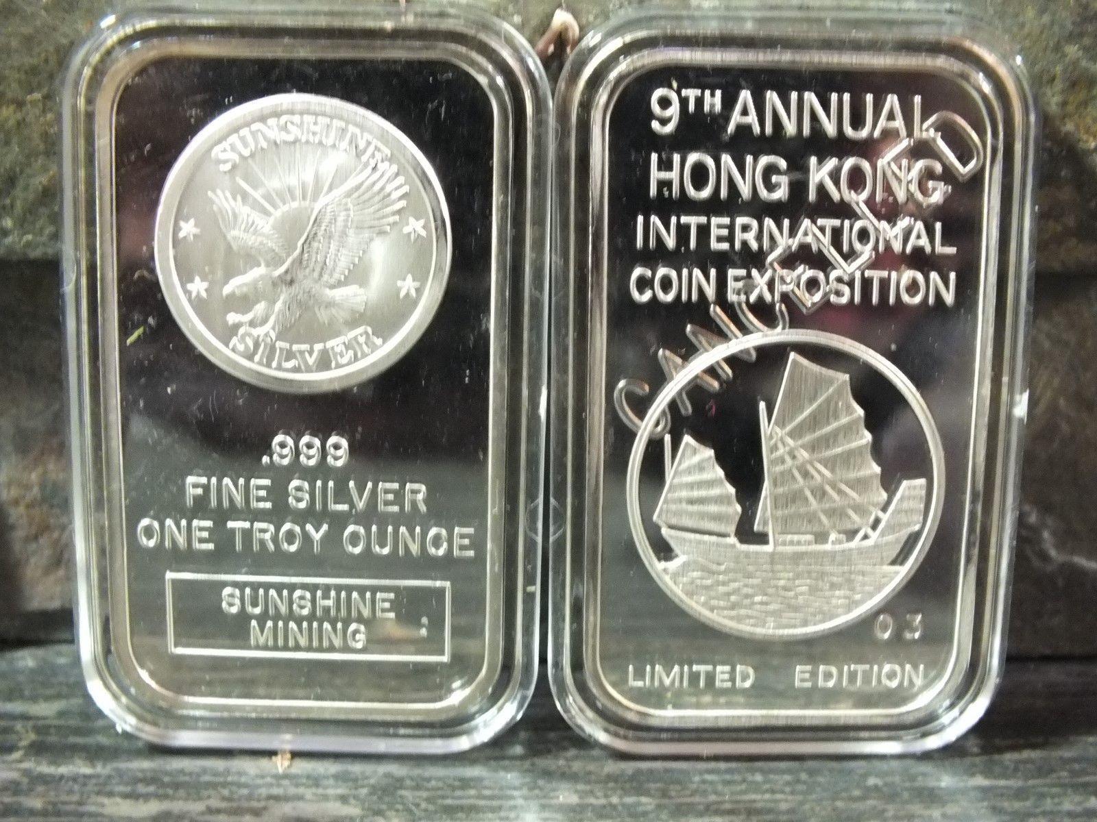 Rare 1990 1 Oz Silver Bar Sunshine Mint Mining 3 Of 50 Cancelled