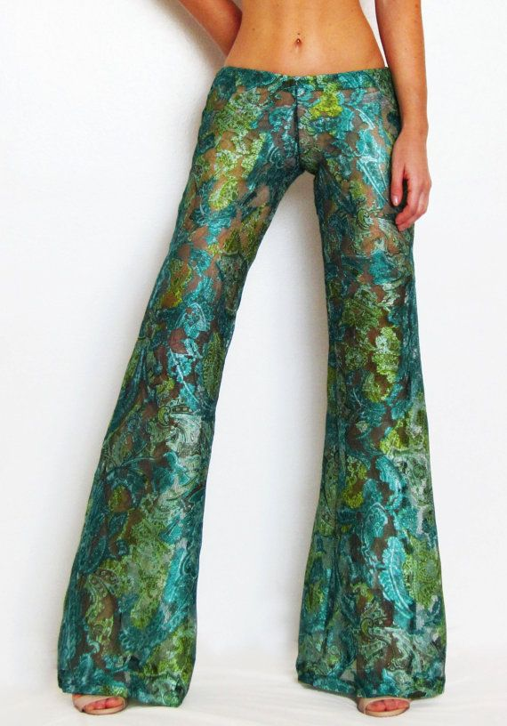 724d6a20a60c3 Custom Green Lace Bell Bottom Pants/ Flare/ Boho/ Festival/ Hippie/ Yoga/  Dance/ Gypsy/ Beach Cover Up/ Burning Man/ St. Patrick's Day