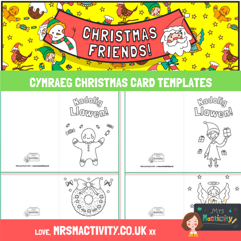 Cymraeg Christmas Card Templates For Your Primary Classroom Ideal For Welsh Medium Schools Or Welsh Les Christmas Card Template Christmas Cards Card Templates