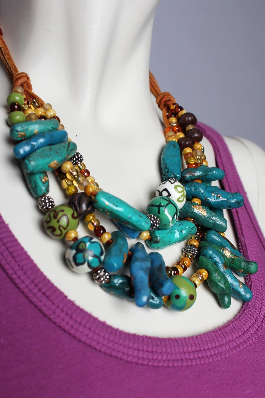 turquoise jewelry teal jewelry double strand jewelry Teal /& Turquoise Necklace big beaded chunky statement necklace blue necklace
