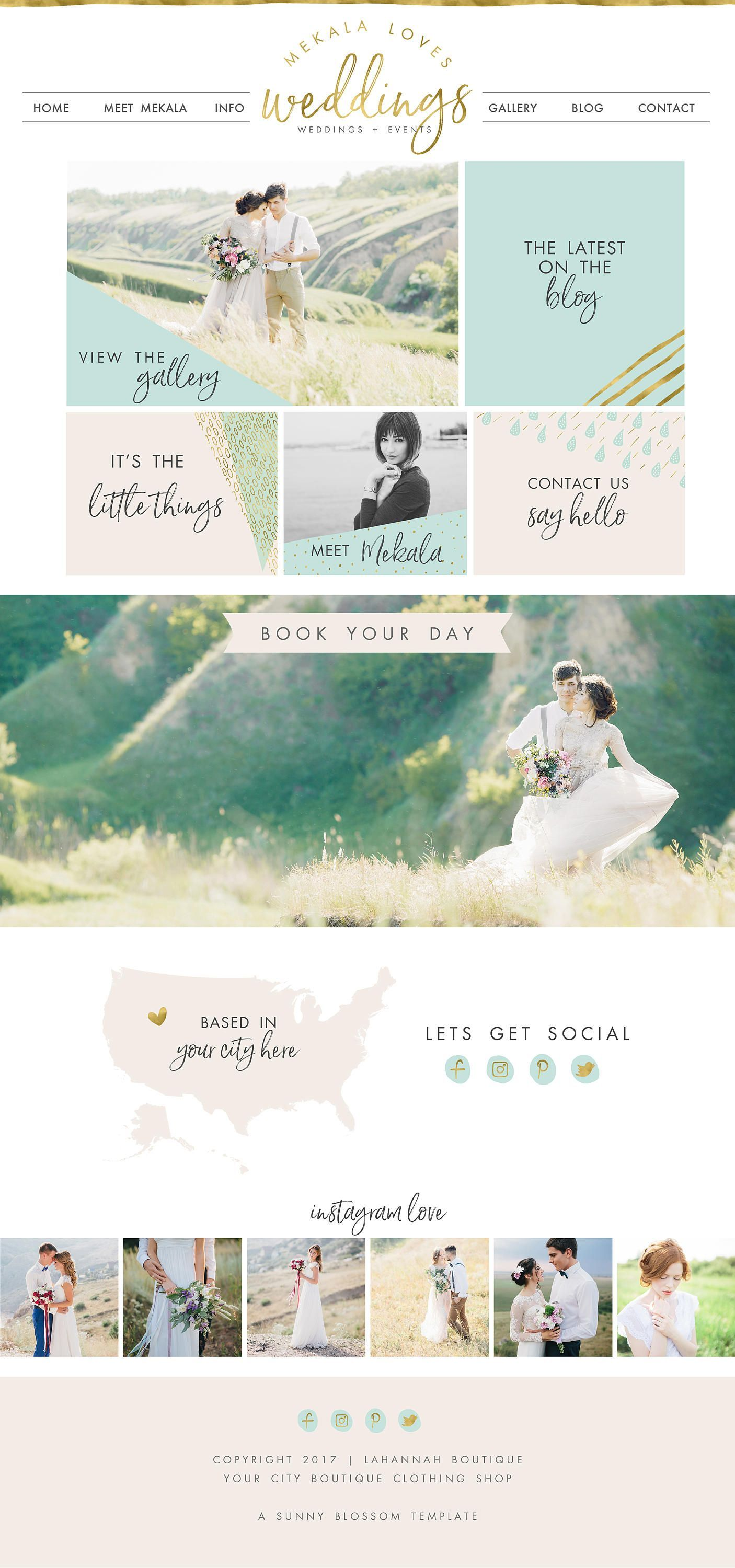 Wix Website Design Template Wedding Planner Event Logo Photography 4906 By SunnyBlossomDesigns