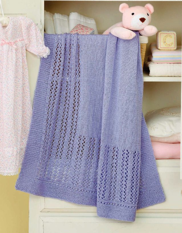 A purple knit afghan for baby. One of our best!